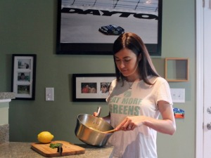 Race car driver by day, vegan cook at night.